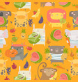 seamless pattern with cartoon animals holding vector image vector image