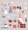 set christmas graphic elements winter vector image vector image