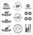 Set of butcher shop labels and design elements vector image