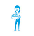 silhouette woman with hairstyle and pail with soap vector image