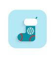 stocking christmas flat icon holiday symbol vector image