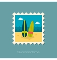 Surfboard flat stamp vector image