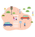 traffic laws children walk along a pedestrian vector image vector image