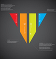 Triangle template consists of four color parts on vector image vector image