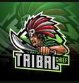 tribal chief esport mascot logo vector image vector image
