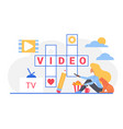 video crossword cartoon woman holding tv remote vector image vector image