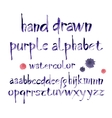 Watercolor hand written purple alphabet vector image