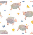 watercolor sheep pattern vector image vector image