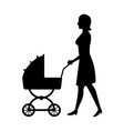 woman with baby pram silhouette vector image