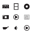 black media icons set vector image