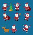 cute cartoon santa claus set christmas vector image