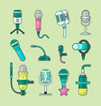 microphone icons mike telecommunication vector image