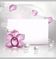background with orchid and pearls vector image vector image