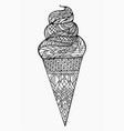 black and white ice cream cone with boho vector image vector image