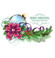 Blue Christmas ball with purple bow and fir vector image vector image