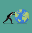 businessman pushing the world forward vector image vector image