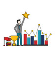 businessman with star trophy diagram flag vector image vector image