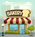 cartoon bakery shop building small business banner vector image vector image