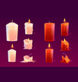 cartoon candles burning motion sequence animation vector image