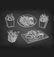 chalk sketch fried potatoes vector image vector image