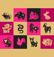 chinese new year zodiac signs papercut icons and vector image vector image