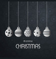 christmas typoographic with dark pattern ad balls vector image vector image