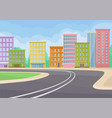 city landscape with buildings road green bushes vector image vector image