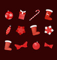 collection christmas toys decoration vector image vector image
