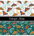 colorful moths seamless pattern set green and vector image