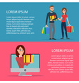 concept of online shopping Woman and man buys vector image