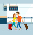 couple with luggage in airport man and woman vector image vector image