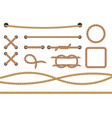 different ropes realistic marine round and square vector image vector image
