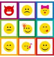 flat icon expression set of delicious food sad vector image vector image