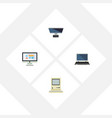 flat icon laptop set of pc notebook computing vector image vector image