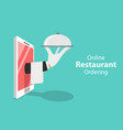 flat isometric concept of table online vector image vector image