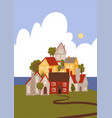 funny cartoon town sea cozy houses vector image