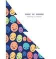 funny faces Christmas tree silhouette pattern vector image