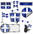 glossy icons with flag of province quebec vector image vector image