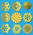 golden snowflakes cut from foil a set of vector image