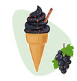 goth black charcoal ice cream in cone summer vector image vector image