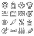 gray line car parts icons set vector image