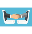 handshake from laptop screen vector image vector image