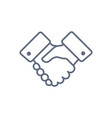 handshake line icon partnership and agreement vector image vector image