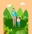 happy mother and kids spend time together forest vector image vector image
