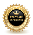Hundred And Twenty Years Experience Badge vector image vector image