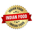 indian food 3d gold badge with red ribbon vector image vector image