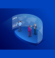 isometric people in front of the screen for data vector image vector image