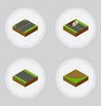 isometric road set of upwards without strip turn vector image vector image