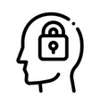 locked padlock in man silhouette mind icon vector image vector image
