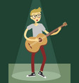 man play acoustic guitar on green spotlight vector image vector image